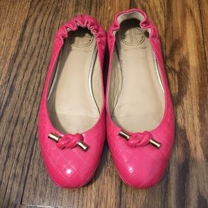 Lilly Pulitzer Leather Hot Pink Knot Flats Sz 7.5